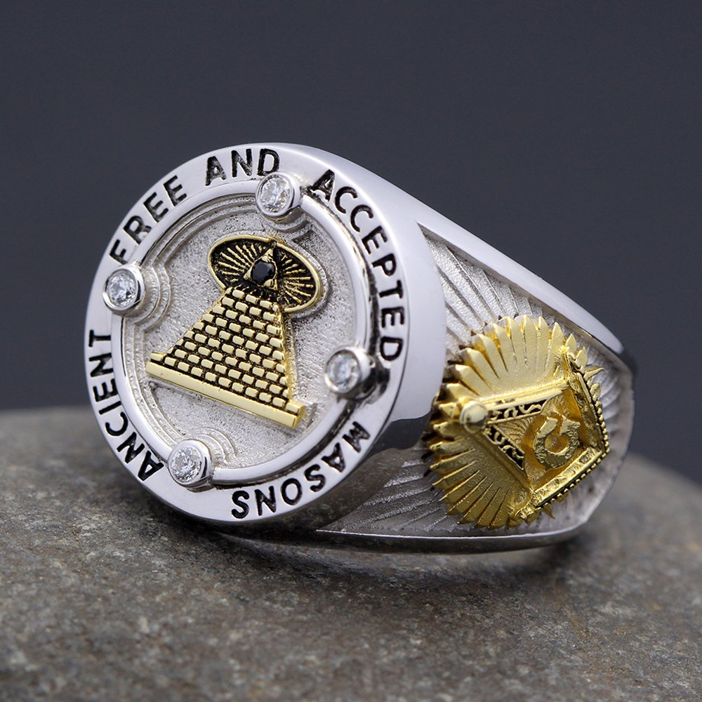 Ancient All Seeing Eyes Free and Accepted Masons 32 degree Scottish Rite Freemasonry Ring