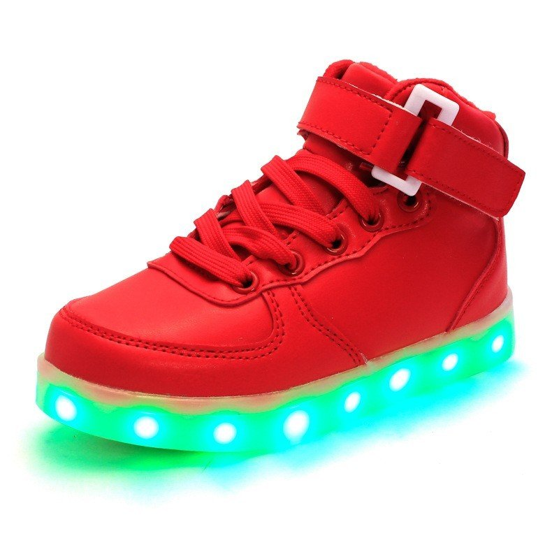7 Colors LED Light-Up Couple Womens Mens Sport Shoes Red Sneakers