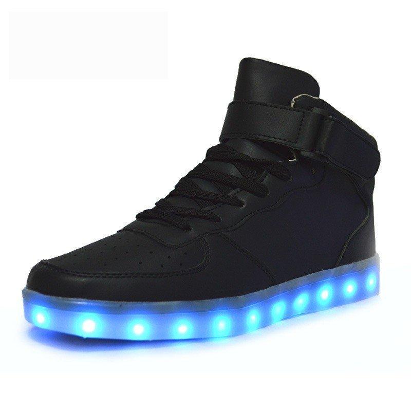 7 Colors LED Light-Up Couple Womens Mens Sport Shoes Black Sneakers