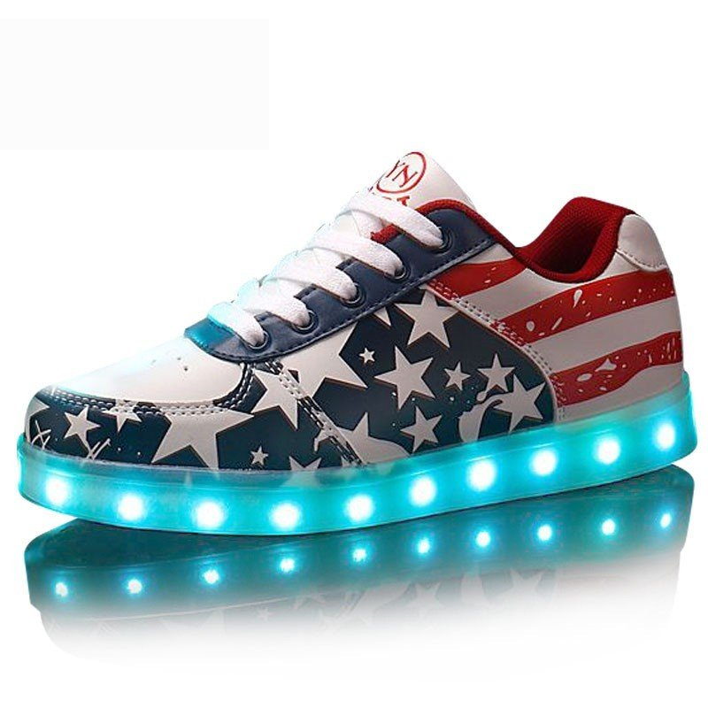 LED Shoes U.S.A Fashion Flag Printed Red Sneakers Usb Charging