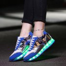 LED Light Up Hip-Hop Men Shoes Blue Usb Charging