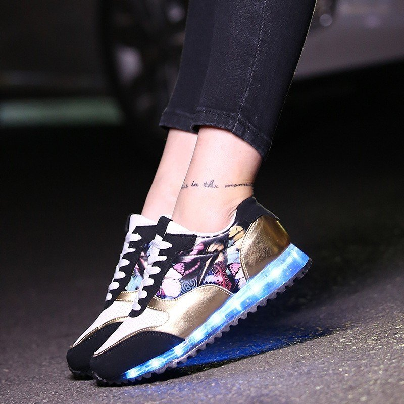 LED Light Up Hip-Hop Men Shoes Black Usb Charging