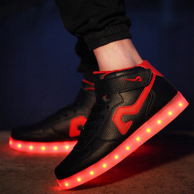 LED Lovers Shoes 7 Colors Usb Charging Black