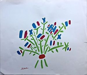 "Picasso Pablo  ""Le petit bouquet"" Lithograph Hand Signed in the Plate"
