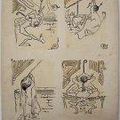 Elden Ebbe- Four Original erotic Ink illustrations Hand Signed -1901-Very rare!