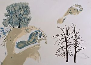"DALI Salvador - Lithograph ""Winter, l'hiver "" Hand signed numbed E.A."