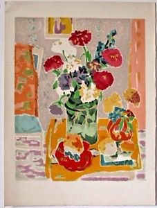 """CAVAILLES Jules- """"Bouquet au pichet vert"""" Hand signed and numbered 49/175"""