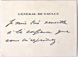 Charles De Gaulle  Handwritten Greeting card features an original envelope
