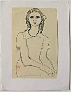 Tourte Suzanne-Pencil Drawing on Paper Stamped and Hand Signed-1944