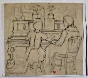 Tourte Suzanne-pencil Drawing on Paper Stamped and hand signed 1942