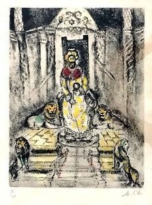 Chagall Marc  'Solomon on The Throne' Hand Signed and Numbered lithograph