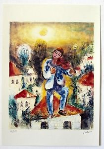 """Albert Goldman """"Fiddler on the roof"""" Hand Signed and Numbered 12/250 Serigraph"""