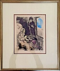 Chagall Marc  'Jacob Blessed Two Sons' Hand Signed and numbered 9/100 lithograph
