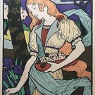 "Eugene Grasset ""Lady with flowers"" Signed in Plate Art Nouveau 1954 reproduction"