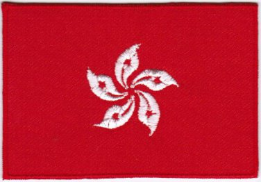 Flag Hong Kong Nation Emblem Badge Iron On Embroidered Patch 3x2