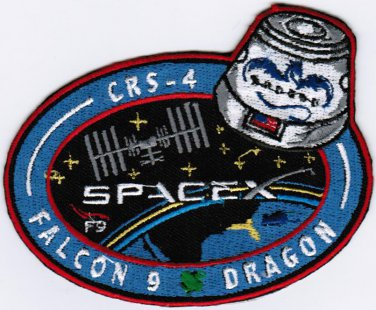 ISS Expedition 41 Dragon CRS-4 Spacex Falcon 9 F9 Space Badge Embroidered Patch 4x3.2