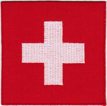 Switzerland Swiss Flag Badge Iron On Embroidered Patch 3x3