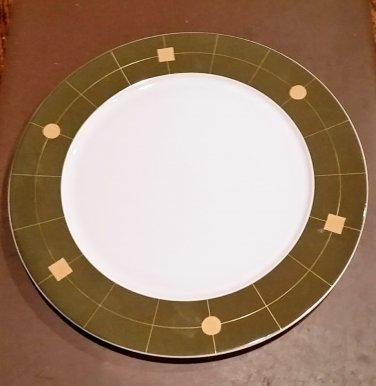 "Rosenthal Germany Olive and Gold Trim - Geometrics Plate 13"" Round Platter"
