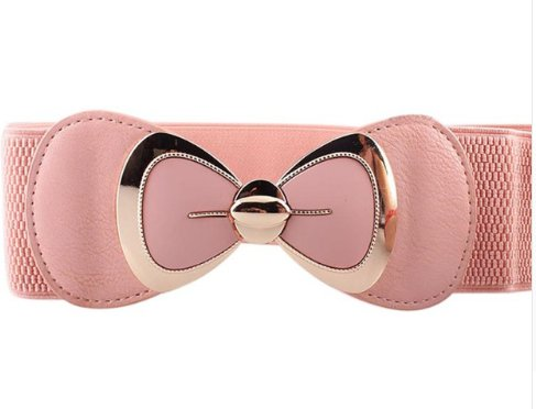 Chic Pink Bow Buckle Belt