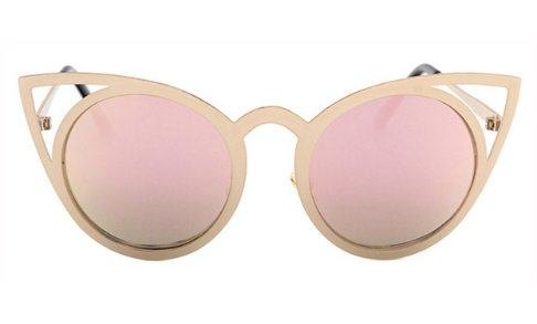 Women's Round Lens Cat Eye Fashion Sunglasses - Pink - UV400