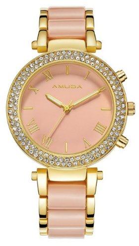 Women's Rhinestone Studded Bracelet Watch - Pink