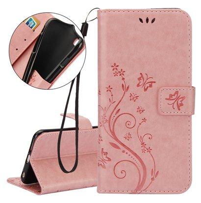 Multi Purpose Vintage iPhone 7 Wallet Stand - Pale Pink
