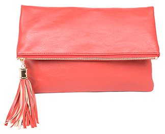 Messenger Style Tassel Zipped Clutch Purse - Pink