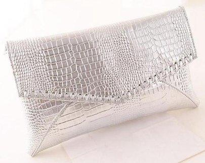 Silver Faux Croc Envelope Style Clutch Purse