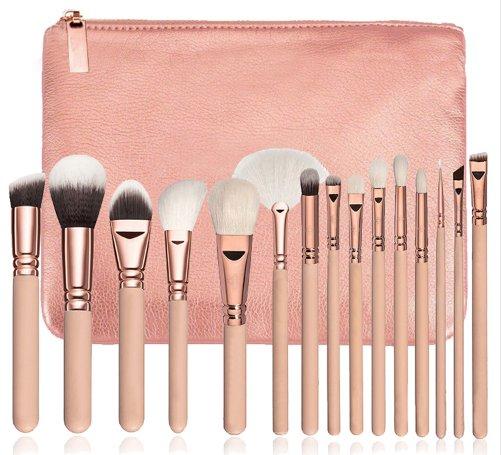 15 Piece Pro Makeup Brush Set - Pink