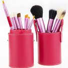 12 Piece Makeup Brush Set - Hot Pink