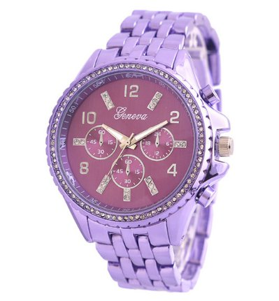 Crystal Rhinestone Studded Women's Fashion Watch - Violet Purple