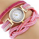 Rhinestone Studded Bracelet Watch - Pink