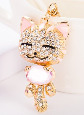 Exquisitely Cute Cat Crystal Rhinestone Jewelry Keychain - Pink