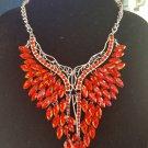 Red Rhinestone Statement Necklace, Elegant Necklace, Choker Necklace, Statement Necklace