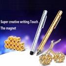 DIY Magnetic Pen with Refill & Steel Balls Golden