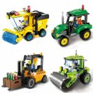 4pcs/set City Construction Road Roller Tractor Sweeper Forklift Truck Building Block Kids Toy