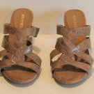 "Aerosoles Tan Strappy Stack  3.25"" Heel Mule Slide Sandals Shoes Size 10"