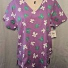 Fashion Print Basic Scrub Top Women Medical Purple Butterflies V-Neck Size L New