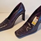 New Gama Italian Black Leather Square Toe Pump Textured Shoes Size 7 1/2 M