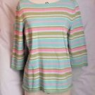 New Jones New York Country Pastel Striped  3/4 Sleeve Sweater Size XL