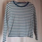 Petite Sophisticate Striped Sweater Long Sleeve Teal,Green,Gray White Size M