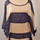 New Arden B Sparkly Blue and Beige Batwing Sleeve Sweater Size Large