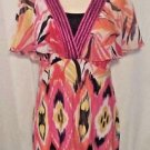 Notations Women's Tunic Length Bright Multi-color Stretch Top Short Sleeve Size