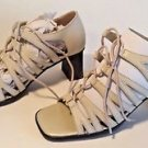 New Laura Scott Gladiator Sandals Chunky High Heeled Shoes Ivory Size 6.5 M
