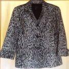 Talbots Blazer Leopard Animal Print 3 Button Lined 3/4 Sleeve Size 12P