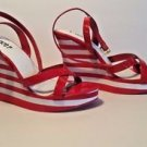 New Y-Not Red White Stripe Platform Slingback Sandals Shoes Size 7.5M