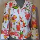 Carlisle Spring Jacket Floral Jean Style Snap Front 100% Cotton Size 4