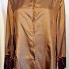 New April Cornell Brown Shiny Blouse Button Down Size L