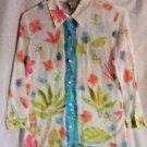 Sigrid Olsen Semi Sheer Blouse Top Shirt Pink Green Blue White MIsses Size M