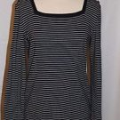 New Jones New York Signature Square Neck Navy-White Striped Sweater Size L
